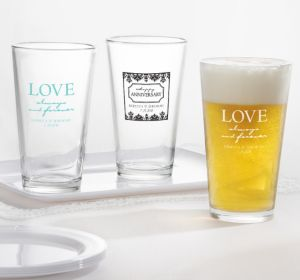 PERSONALIZED Wedding Pint Glasses (Printed Glass) (Robin's Egg Blue, Always & Forever Phrase)