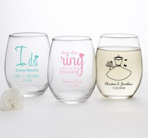 PERSONALIZED Wedding Stemless Wine Glasses 15oz (Printed Glass) (Black, I Do Woo Hoo)