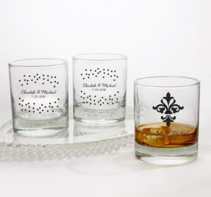 PERSONALIZED Wedding Rocks Glasses (Printed Glass) (Black, Damask & Dots Engagement)