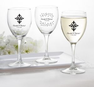 PERSONALIZED Wedding Wine Glasses (Printed Glass) (Black, Damask & Dots Engagement)