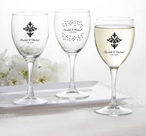 PERSONALIZED Wedding Wine Glasses (Printed Glass) (Black, Damask & Dots Engagement)