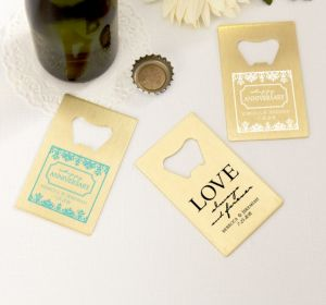 PERSONALIZED Wedding Credit Card Bottle Openers - Gold (Printed Metal) (White, Always & Forever Phrase)