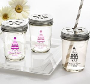 PERSONALIZED Wedding Mason Jars with Daisy Lids (Printed Glass) (White, Sweet Wedding Cake)