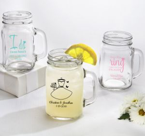PERSONALIZED Wedding Mason Jar Mugs (Printed Glass) (Pink, Blushing Bride Dress)