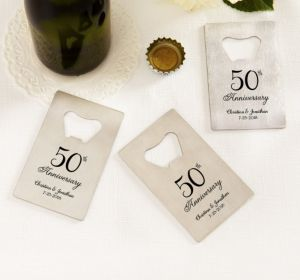PERSONALIZED Wedding Credit Card Bottle Openers - Silver (Printed Metal) (50th Anniversary Elegant Scroll)