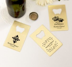 PERSONALIZED Wedding Credit Card Bottle Openers - Gold (Printed Metal) (Black, Damask & Dots Engagement)