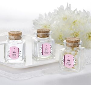 PERSONALIZED Wedding Small Glass Bottles with Corks (Printed Label) (Sweet Wedding Cake)
