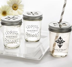 PERSONALIZED Wedding Mason Jars with Daisy Lids (Printed Glass) (White, Damask & Dots Engagment)