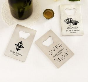 PERSONALIZED Wedding Credit Card Bottle Openers - Silver (Printed Metal) (White, Damask & Dots Engagement)