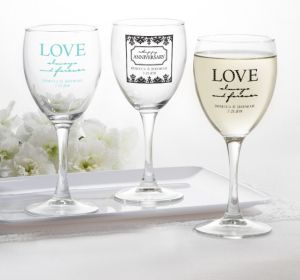 PERSONALIZED Wedding Wine Glasses (Printed Glass) (Robin's Egg Blue, Always & Forever Phrase)