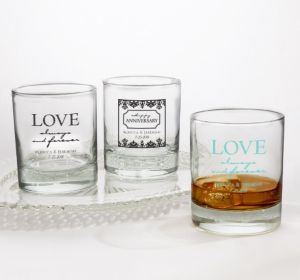 PERSONALIZED Wedding Rocks Glasses (Printed Glass) (Robin's Egg Blue, Always & Forever Anniversary)