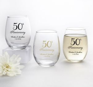 PERSONALIZED Wedding Stemless Wine Glasses 9oz (Printed Glass) (50th Anniversary Elegant Scroll)