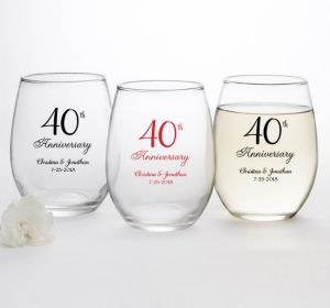 PERSONALIZED Wedding Stemless Wine Glasses 15oz (Printed Glass) (40th Anniversary Elegant Scroll)
