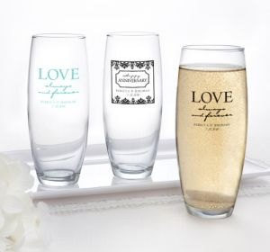 PERSONALIZED Wedding Stemless Champagne Flutes (Printed Glass) (Black, Always & Forever Damask)