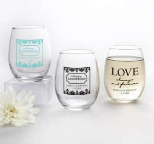 PERSONALIZED Wedding Stemless Wine Glasses 9oz (Printed Glass) (Black, Always & Forever Anniversary)