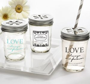 PERSONALIZED Wedding Mason Jars with Daisy Lids (Printed Glass) (Robin's Egg Blue, Always & Forever Damask)