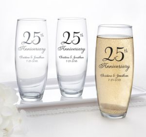 PERSONALIZED Wedding Stemless Champagne Flutes (Printed Glass) (25th Anniversary Elegant Scroll)
