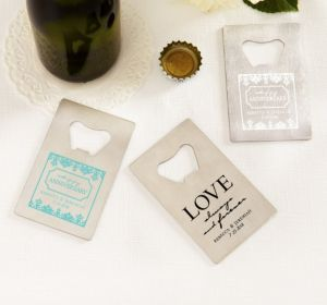 PERSONALIZED Wedding Credit Card Bottle Openers - Silver (Printed Metal) (Robin's Egg Blue, Always & Forever Anniversary)