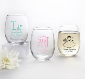 PERSONALIZED Wedding Stemless Wine Glasses 9oz (Printed Glass) (Robin's Egg Blue, Blushing Bride Dress)