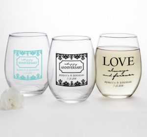 PERSONALIZED Wedding Stemless Wine Glasses 15oz (Printed Glass) (Robin's Egg Blue, Always & Forever Anniversary)
