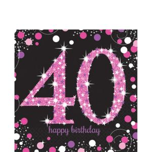 40th Birthday Lunch Napkins 16ct - Pink Sparkling Celebration