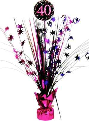 Prismatic 40th Birthday Spray Centerpiece - Pink Sparkling Celebration