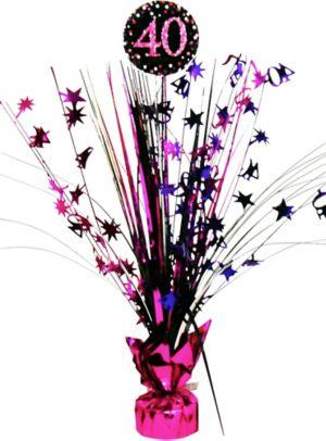 Prismatic 40th Birthday Spray Centerpiece - Pink Sparkling Celebration