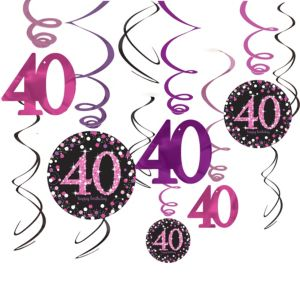 40th Birthday Swirl Decorations 12ct - Pink Sparkling Celebration
