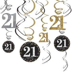 21st Birthday Swirl Decorations 12ct - Sparkling Celebration