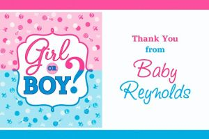 Custom Girl or Boy Gender Reveal Thank You Note