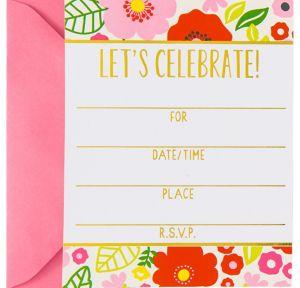 Metallic Trendy Floral Invitations 8ct