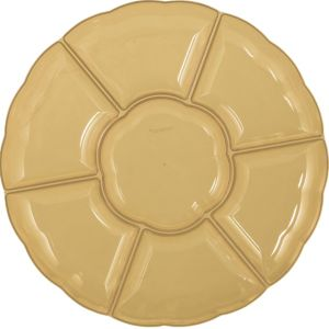 Gold Plastic Scalloped Sectional Platter