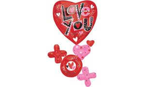 Hugs & Kisses Love You Heart Balloon - Giant Cluster