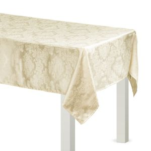 Vanilla Cream Damask Fabric Tablecloth