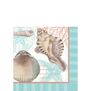 Eco-Friendly By the Sea Seashell Beverage Napkins 16ct
