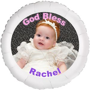 Custom Girl Baptism Photo Balloon