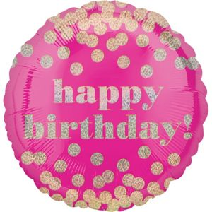 Metallic Dots Pink Happy Birthday Balloon