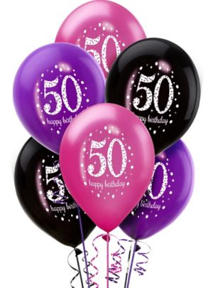 50th Birthday Balloons 6ct - Pink Sparkling Celebration