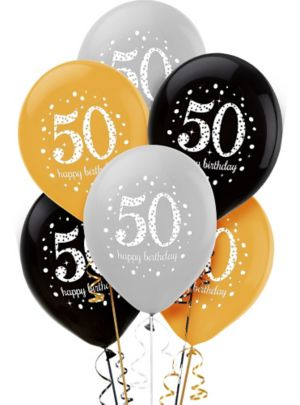 50th Birthday Balloons 6ct - Sparkling Celebration
