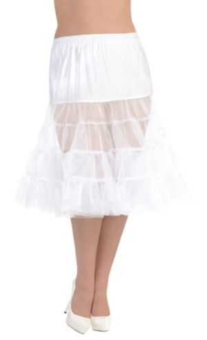 White Knee Length Petticoat Plus Size
