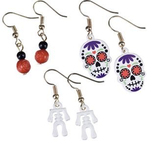 Skeleton & Sugar Skulls Halloween Earrings Set 6pc