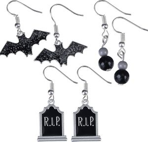 Bat & Tombstone Halloween Earrings Set 6pc