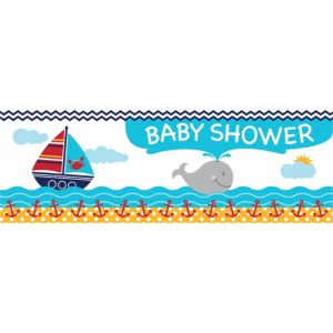 Giant Ahoy Nautical Baby Shower Banner