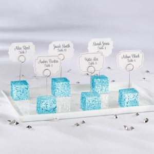 Blue Glitter Cube Place Card Holder