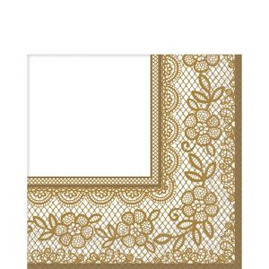 Delicate Gold Lace Lunch Napkins 16ct