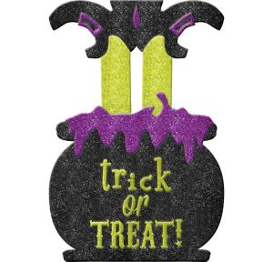 Glitter Trick-or-Treat Witch Yard Stake