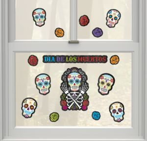 Glitter Sugar Skulls Cling Decals 15ct