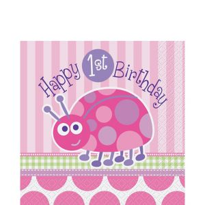 Pink Ladybug 1st Birthday Lunch Napkins 16ct