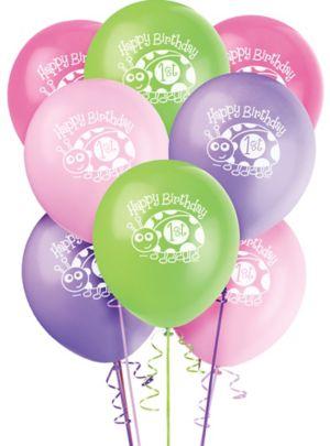 Pink Ladybug 1st Birthday Balloons 8ct