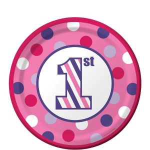 Pink Dots & Stripes 1st Birthday Dessert Plates 8ct